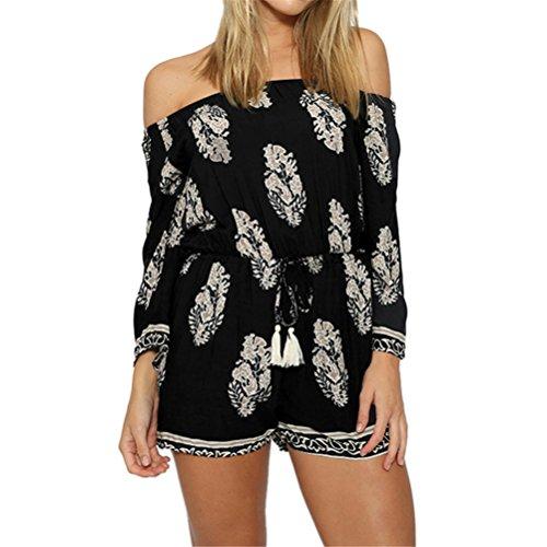 SIMSHION Women's Boho Floral Print Off Shoulder Strapless Short Jumpsuit Playsuit Romper Black L