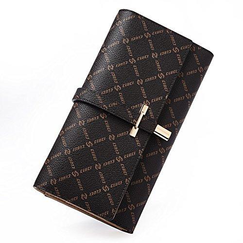 Ladies Tri Fold Wallet (Wallets for Women Rfid Blocking Leather Slim Luxury Ladies Clutch Purse Long Trifold Designer Credit Card&Checkbook Holder Organizer brown)
