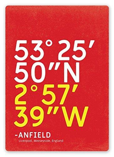 (LOUIS Football Stadium Coordinates Anfield Metal Wall Sign Plaque Art Inspirational - 8x12 inch)