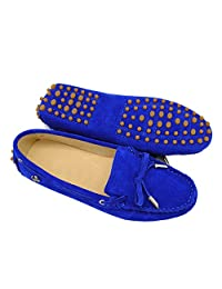 Minitoo TYB9602 Womens Casual Suede Leather Loafers Driving Shoes Penny Moccasins Flats