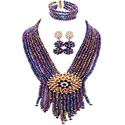 8 Rows Beaded Nigerian Necklace With Earrings