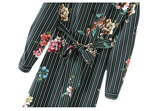 Dress Button Long Floral Bow Midi Stripe Women's Picture Jaycargogo Sleeve As Shirt Belt Lapel Print t7q0Xgw