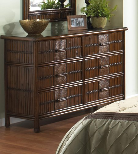 Hospitality Rattan Polynesian Six Drawer Dresser - Traditional rattan and bamboo bedroom six drawer dresser Durable, yet elegant construction Fully Assembled - dressers-bedroom-furniture, bedroom-furniture, bedroom - 519QBYmbqdL -