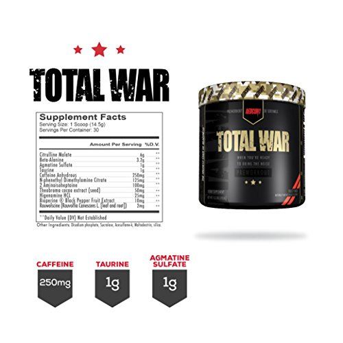 Redcon1 Total War Fully Dosed Pre Workout Complex - 30 Servings (Fruit Punch)