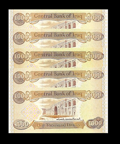 Iraqi Dinar 5000 Iraq 5 X 1000 New Uncirculated Set Of 5 From A Bundle - rare, limited For (Dinar Note)