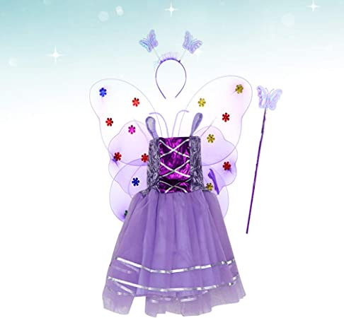 Amosfun - Disfraz de Princesa con alas de Mariposa para niña ...