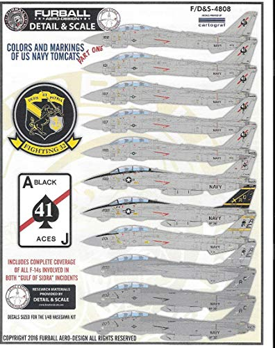 (Furball Decal 1/48 Scale Decal USN F-14 Tomcats Colors & Markings Pt I - FDS4808 for Tamiya)