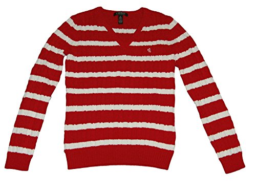 (Ralph Lauren Women's Cable Knit V-neck Sweater - Small - Red & White)