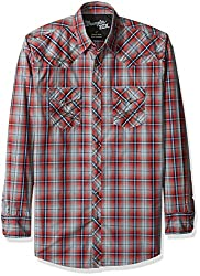 Wrangler Men's Size 20x Long Sleeve Two Pocket Snap Red Woven Shirt, Wine/Blue, X-Large/Tall