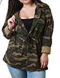 hodoyi Women Camo Drawstring Waist V-Neck Long Sleeve Button Outwear Jacket(US18,Woodland Camo)