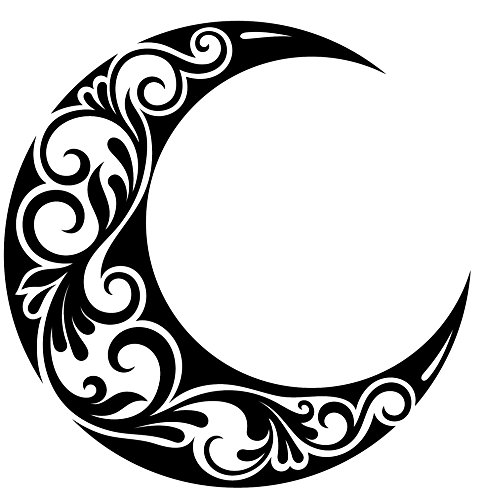 Pretty Black and White Crescent Moon with Swirl Vine Vinyl Decal Sticker (4