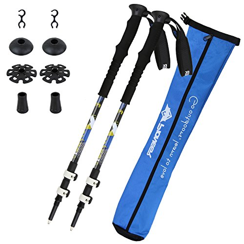 Trekking Poles Mountaineering Collapsible Alpenstocks Ultralight Walking Hiking Sticks with Carry Bag Pack of 2