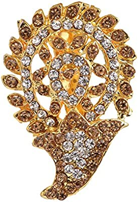 Zephyrr Gold Alloy Brooch Pin with American Diamond Formal /& Party Wear for Women//Girls BRCH-11