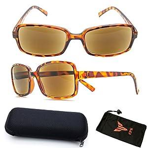 (#3SPSR Tort) Fashion Designer Women Squared Rectangular Shape SUN-READER Glasses - All In One Reading Glasses & Sunglasses + Free Hard Case + Cleaning Pouch ( Strength : +2.75 )