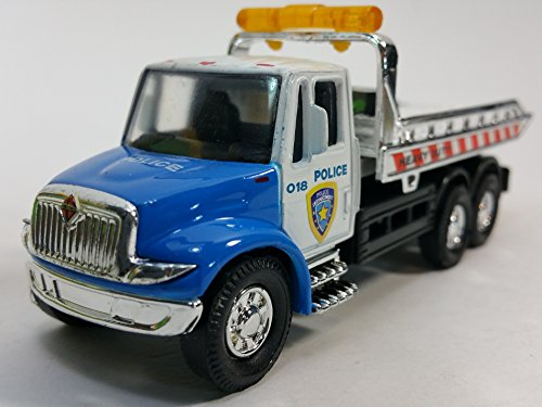 Showcasts Blue & White Police Flatbed Tow Truck Functional Rollback Wrecker 1/64 Scale Commercial Vehicle (Truck Flatbed Tow)