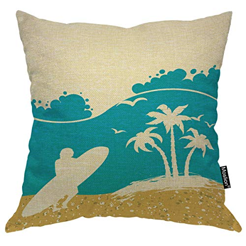 Moslion Beach Pillows Summer Beach Palm Tree Ocean Waves Seagull Surfing in Sea Throw Pillow Cover Decorative Square Cushion Canvas Cotton Linen Home Pillow Case 18X18 Inch Blue Yellow (Surfboard Pillows)