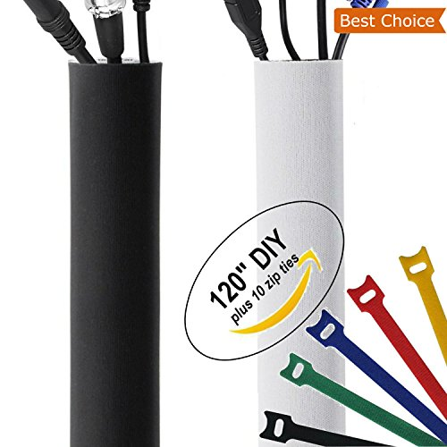 "New Design PREMIUM 120"" Cable Management Sleeve with Free Zi"