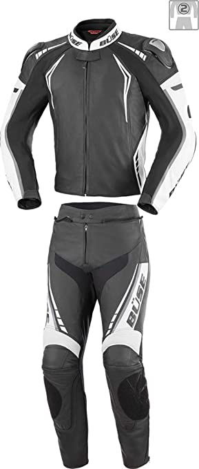 Büse Silverstone Pro 2 Teiler Motorrad Lederkombi 58 Schwarz Weiß Auto