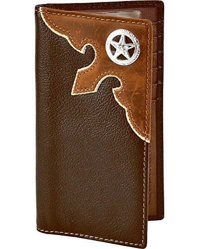 Nocona Men's Leather Overlay Star Concho Wallet Checkbook Brown One Size
