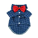 Fitwarm Gentle Formal Blue Dog Shirts for Pet Polo Clothes Apparel + Red Wedding Bow Tie, Medium