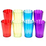 Plastic Glasses Set by Spogears. Plastic Drinking Glasses Set Includes 8 Plastic Tumblers. Looks Like Real Crystal Glasses, Unbreakable Glasses, Dishwasher Safe, BPA Free, Elegant Design.