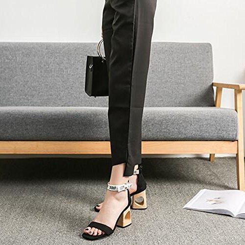 7cm hueco Tacón alto mujer tacón de Square Eastlion Verano Negro para Zapato Head Moda Sandalias sandalias X8qv4qR6zw
