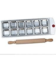 Genetek Ravioli Maker Press 2 in x 2 in Aluminum Alloy Makes 12 Perfect Cuts with Wooden Rolling Pin Included. Great for Pasta, Dumpling, Pelmeni, Pierogi, Kreplach, and More!