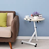 BestValue Go Folding Round Wooden Side Table Laptop Stand Table with Adjustable Height and Wheels