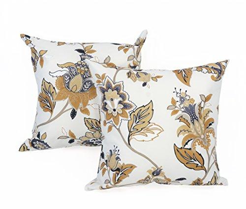 Jacobean Floral Print - LJ Home Fashions 440 Jacobean Floral Print Square Cushions (Set of 2) 18