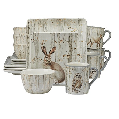 Certified International Corp 89022 A A Woodland Walk 16 piece Dinnerware Set, Service for 4, Multicolor ()