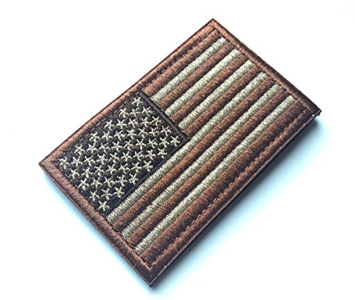 Tactical USA Flag Patch with Velcro Backside, Brown Embroidered Patch 2 x 3 inch by BossBee