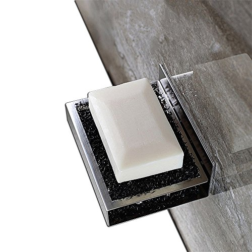 Soap Dish | IdealHouse 3M Self Adhesive Wall Mount Contemporary Style SUS 304 Thicken Stainless Steel Soap Sponge Holder for Bath Bathroom Kitchen