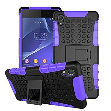 premium selection 43d8b 27c0b Sony Xperia Z2 Case Heavy Duty Stylish Shockproof Case Cover With Back  Stand By iPro Accessories) (Xperia Z2, Purple Shockproof)