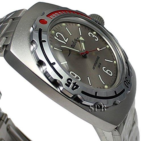 Amazon.com: Vostok Amphibian 090661 / 2415b Russian Military Watch Auto Divers 200m Scuba Grey: Vostok: Watches