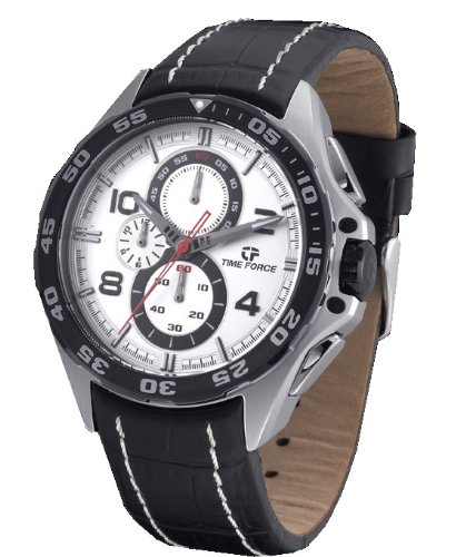 Timeforce TF3328M02 45mm Stainless Steel Case Black Leather Mineral Men's Watch