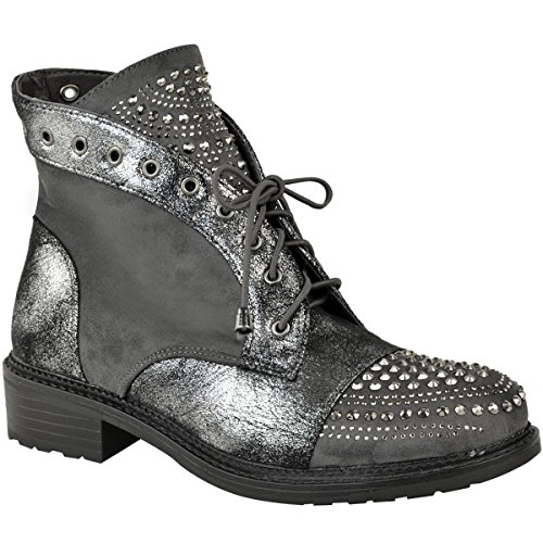 Fashion Thirsty Womens Ladies Studded Diamante Embellished Flat Ankle Boots Punk Casual Size Grey Faux Suede