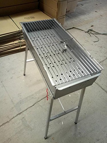 "YW Creating 24"" x 10"" Wide Corrosion-Resistant Iron-Zinc Alloy Thicker Charcoal Grill - Portable BBQ Grill, Yakitori Grill, Kebab Grill, Satay Grill. Makes Juicy Shish Kebab, Shashlik"