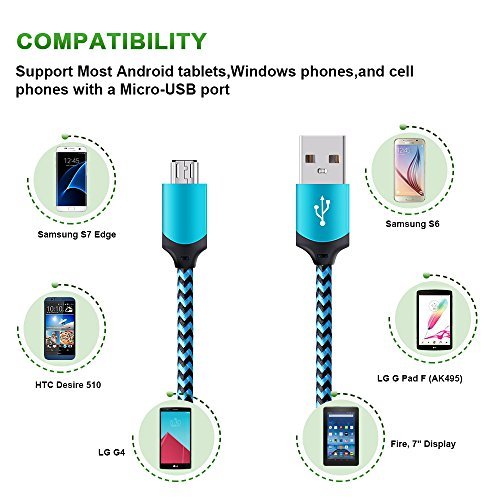 Android Micro USB Cable, GiGreen Certified Charging Cord Powerline 3 Pack 6FT Nylon Braided Sync and Fast Charging Aluminum Connector Tangle-free Data Cable for Samsung, Nexus, LG, Motorola, Nokia by GiGreen (Image #5)