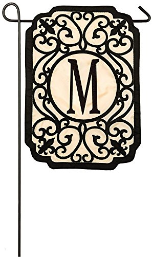 Evergreen Flag Filigree Monogram M Applique Garden Flag, 12.5 x 18 -