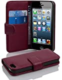 Cadorabo - Book Style Wallet Design for Apple iPhone 5 / 5S / 5G with 2 Card Slots and Money Pouch - Etui Case Cover Protection in PASTEL-PURPLE