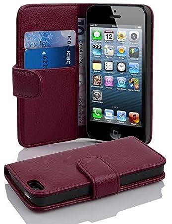 Cadorabo Hülle für Apple iPhone 5 / iPhone 5S / iPhone SE - Hülle in BORDEAUX LILA – Handyhülle mit Kartenfach aus struktrier