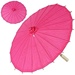 BalsaCircle 20-Inch Fuchsia Paper Parasol Chinese Umbrella - Wedding Party Centerpieces Home Decorations Cheap Supplies