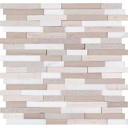 Vogue Peel & Stick Gray and White 3D Mix Honed Brick Pattern Marble Mosaics for Kitchen Backsplashes, Wall Fireplace Tile (5) Stone Tile Fireplace