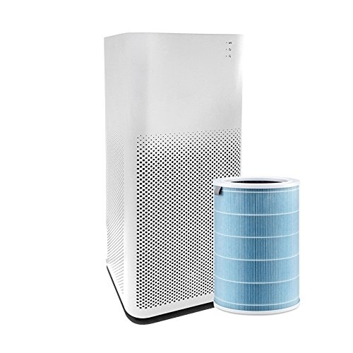 Mi Air Purifier 2 - HEPA Filter, Smartphone Controls, 360 Air Intake, Ultra Quiet Design with Dehumidifier for Allergies, Pets, Smokers
