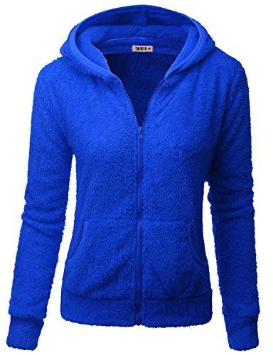 Doublju Womens Basic Poly 3/4 Sleeve Big Size Fleece Jacket ROYALBLUE,3XL