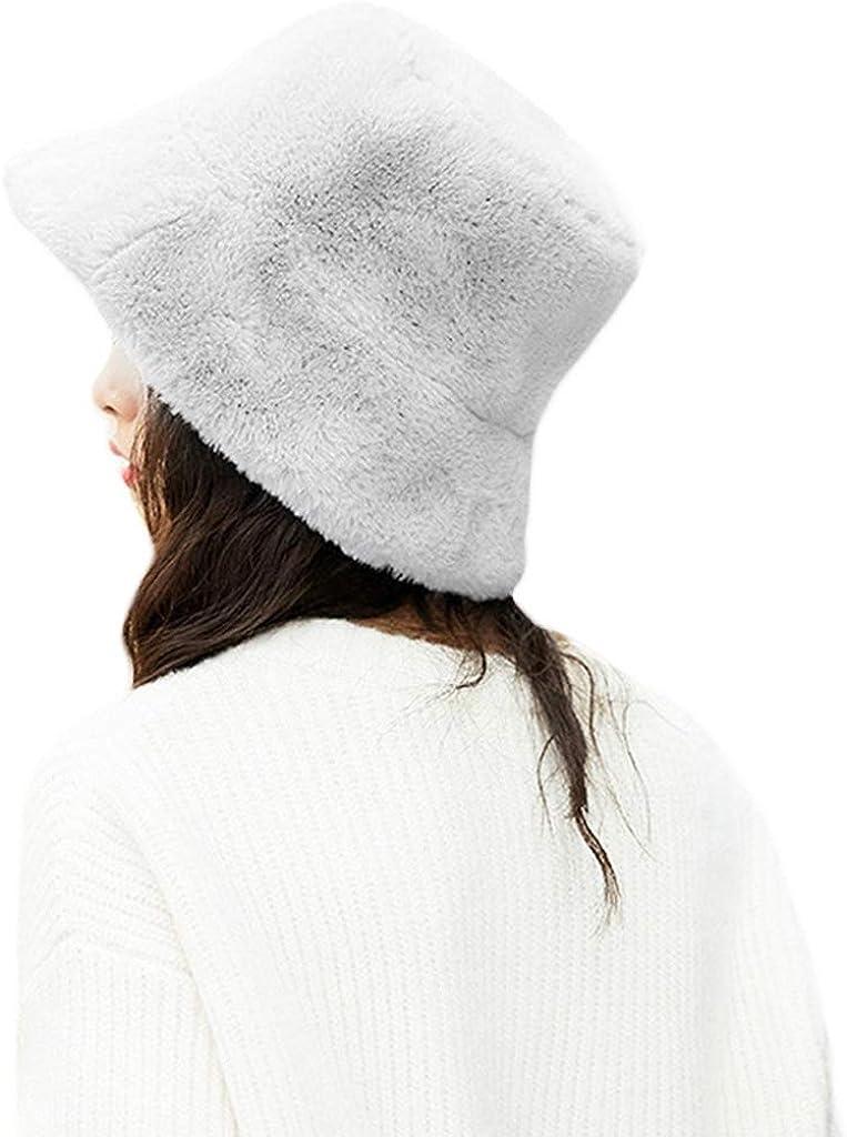A0127 Damen Winter Verdickt Flauschigen Pl/üsch Fischerhut Einfarbig Breiten Hut