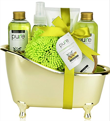 Pure Deluxe Spa Gift Basket- Hydrating Olive Oil Skin Therapy Kit Luxury Gift Basket - Spa Gift Baskets make Best Birthday Gifts for Women! Perfect Gift Baskets for Women & Men! ()