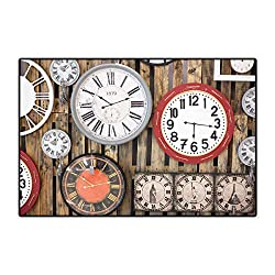 Clock Bath Mat Non Slip Antique Clocks on The Wall Instruments of Time Vintage Design Pattern Artwork Customize Door mats for Home Mat 24x36 Brown and Red