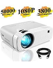 Mini Vidéoprojecteur, ELEPHAS 3800 Lumens Projecteur Portable Soutien 1080P Rétroprojecteur Compatible USB/HD/SD/AV/VGA pour Home Cinéma, Durée de Vie Jusqu'à 50000 Heures, Blanc. …