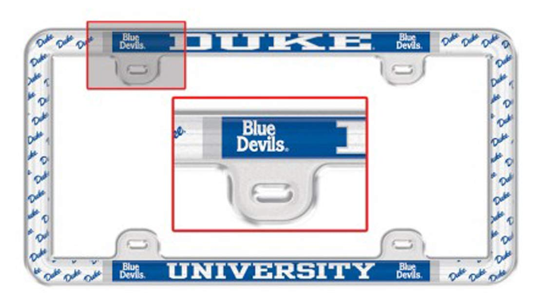 Duke University Blue Devils Plastic License Plate Frame with Clear Tabs